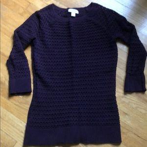 3/4 sleeve, open knit sweater, plum purple
